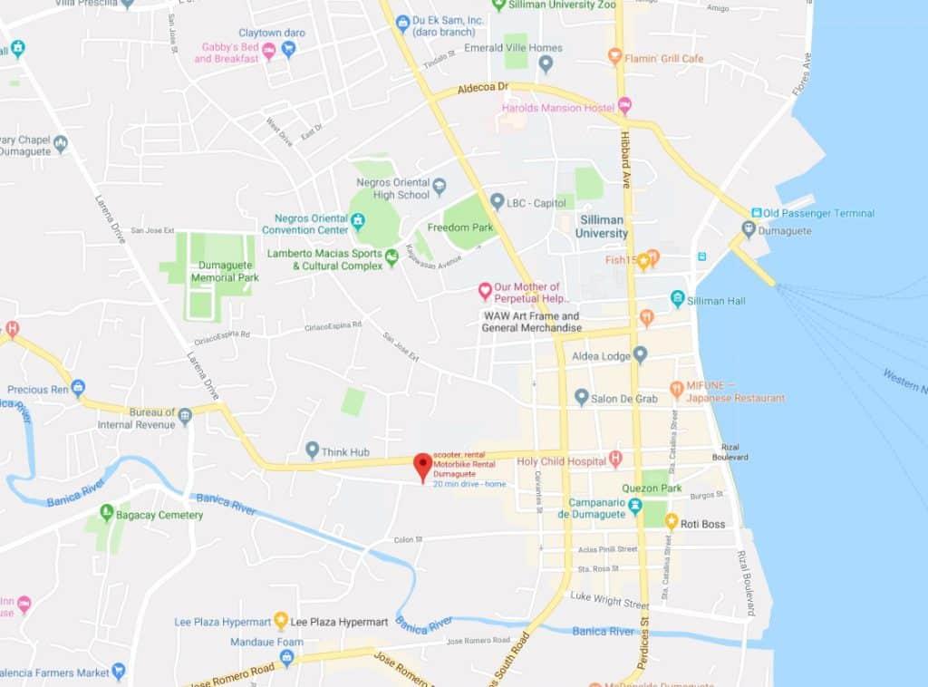 map motorbike rental dumaguete 1024x758 - Motorbike Rental Dumaguete